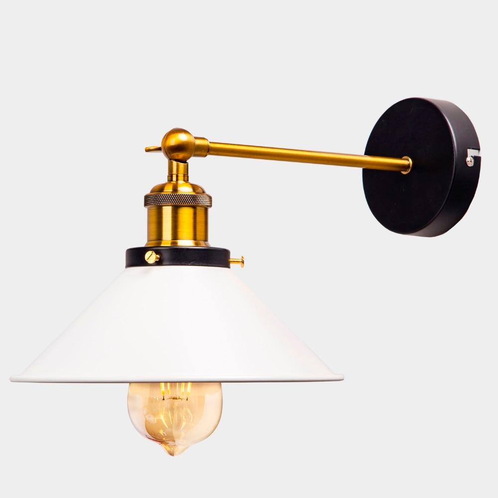 ZhaoKe White Color Loft Industrial Wall Lamps Vintage Bedside Wall Light Metal  Lampshade E27 Edison Bulbs 110V/220V