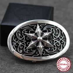 925 серебро мужской ремень Кнопка Личность властной классический в стиле хип-хоп крест в стиле панк гексаграмма якоря моделирование подарок