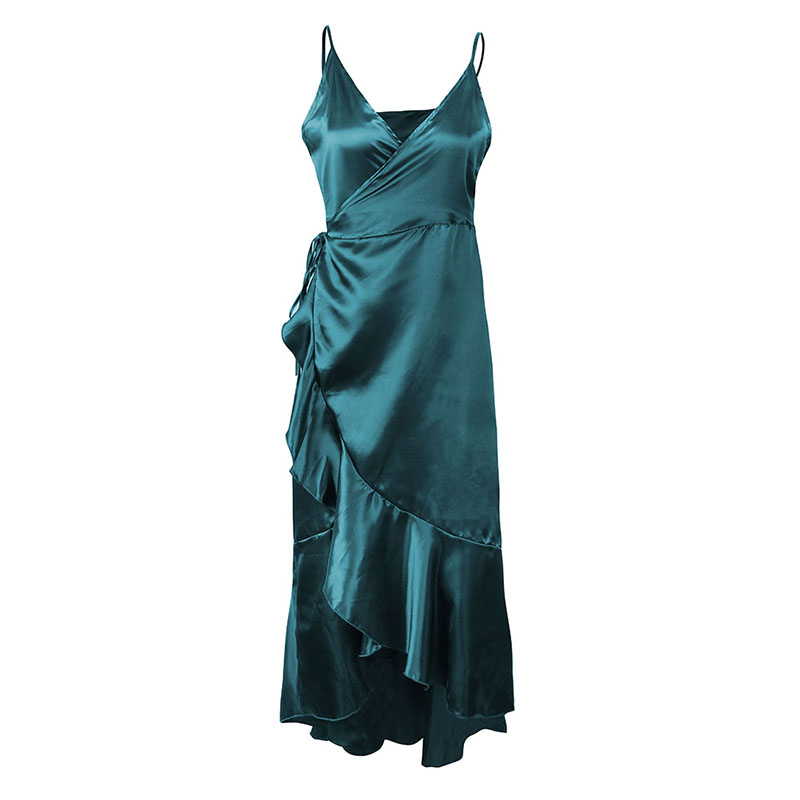 Sexy Women Satin Slip Dress Plunging V Neck Irregular Ruffles Hem Clubwear Tie-Waist Solid Slim Party Long Dress Green/Red/Black