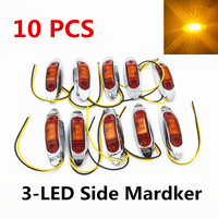 10PCS AMBER Waterproof Side Marker Lights Clearance Lamp Trailer Truck Bus Car 3 LED 12V 24V
