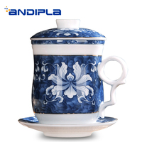 350 ML Jingdezhen Ceramic Blue and White Porcelain Teacup with Cover Saucer Filter Vintage Pattern Kung Fu Tea Master Cup Mug