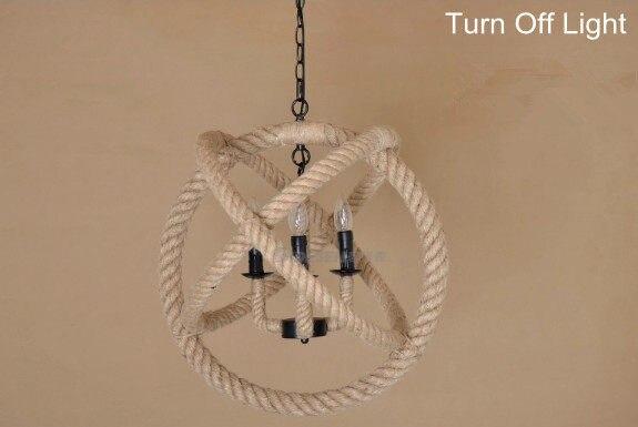 Retro Nostalgie Handgewebte Hanfseil Kronleuchter Abgehängte Decke Lampe  Kreative Loft Stil Seil Lampe