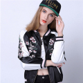 2017 New Spring Embroidery Jacket Women Coat Flower Phoenix Bird printed Bomber Jacket Coat Female Pilots Reversible Outerwear