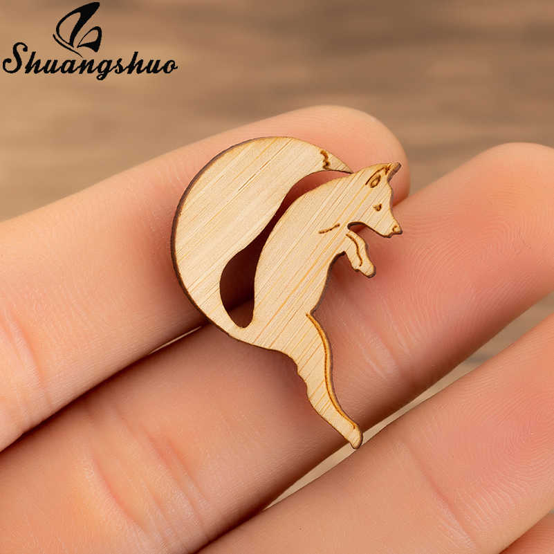 Shuangshuo Melompat Fox Bros Pin untuk Wanita Perhiasan Kayu Lencana Kerah Pin Vintage Bros Enamel Denim Jaket Kerah Pin Lencana