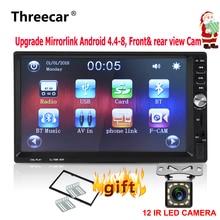 """7 """"Зеркало Ссылка Android двойной din 2din автомобиля Радио Bluetooth USB MP5 fm-радио автоматически стерео проигрыватель Поддержка спереди и сзади монитор камеры"""