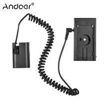 Andoer NP F970 a LP E6 EN EL15 EN EL14 NP FW50 adaptador de montaje de placa simulada Cable de resorte para Canon EOS adaptador de batería