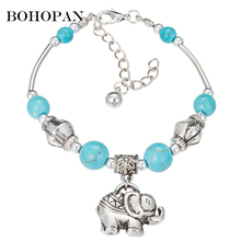 2018 Blue Natural Stone Bracelets For Women Men Animal Pendant Strand & Bangles Silver Chain Lovers Gift Party Jewelry