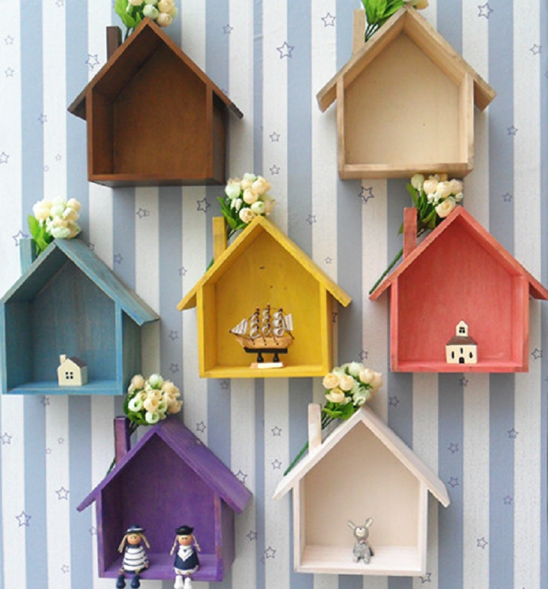 Lovely 7 Colors Mediterranean Style Wood Doll Houses Kids Baby Girls Room Wall Decoration Toys Western