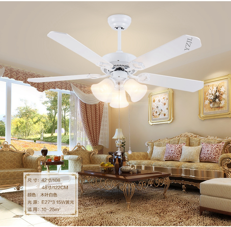 Minimalist Living Room Bedroom Dining Ceiling Chandelier Fan Lights Continental Retro White With LED