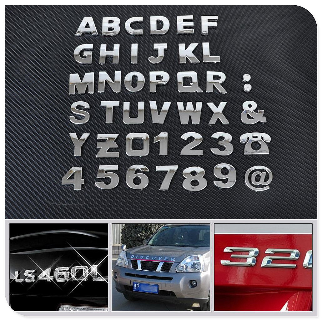 Car auto DIY Letter Alphabet number Stickers Logo for Mitsubishi ASX Endeavor Expo Galant Grandis Lancer Mirage Montero