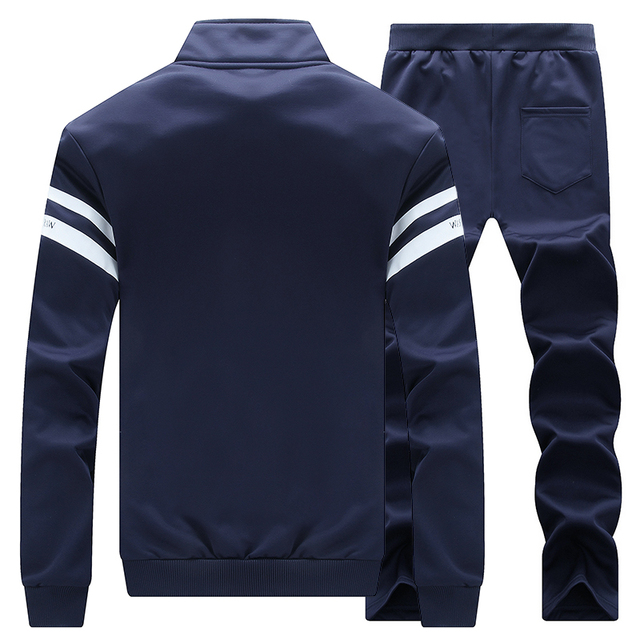 Sweatshirt Tracksuit Men Set Winter Fleece 2PCS Patchwork Hoodie 4