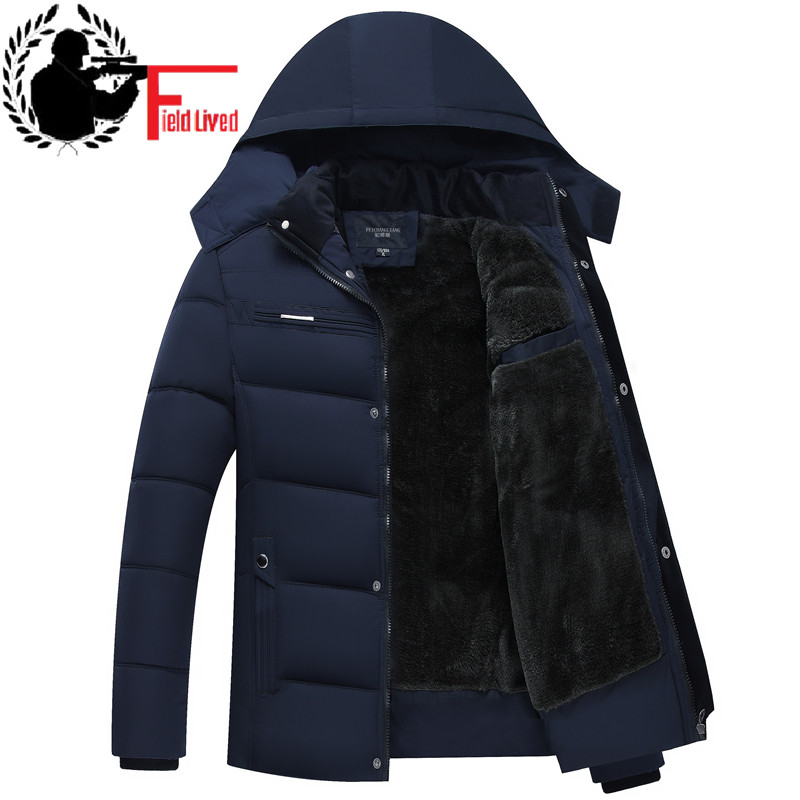 New Brand Winter Warm Jacket for Men Hooded Coats Casual Mens Thick   Parka   Coat Male Slim Casual Cotton-Padded Velour Outerwear