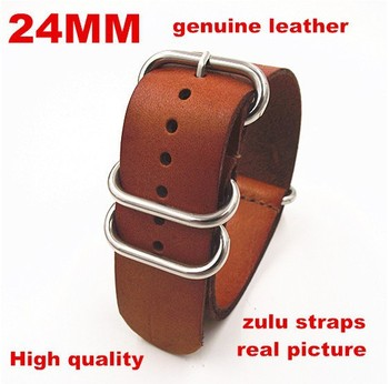 zulu straps - Wholesale 10PCS/lots High quality 24MM Nato strap genuine leather Watch band NATO straps watch strap-1411044