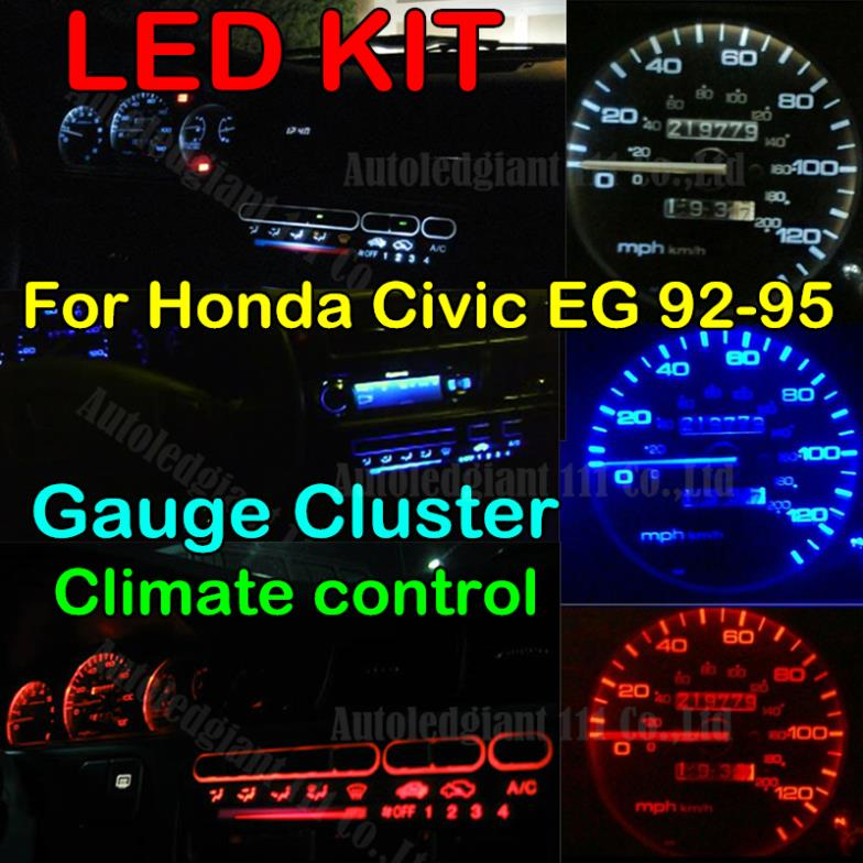 For Honda Civic Eg Instrument Gauge Cluster Climate Control Led Light Kit