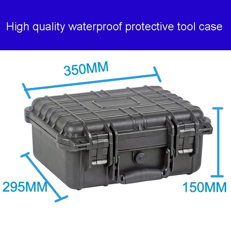 Tööriistakast tööriistakasti kohver Löögikindlalt suletud veekindlast plastikust korpusega seadmekarbi kaameraümbris Eelnevalt lõigatud vahuga mõõtekast