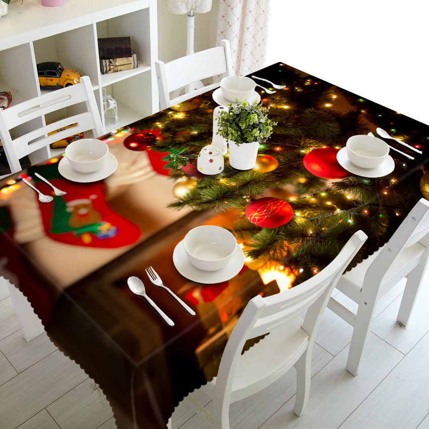3D Table Cloth Exquisite Christmas Present Jingling Bell Pattern Waterproof Thicken Rectangular Wedding Tablecloth