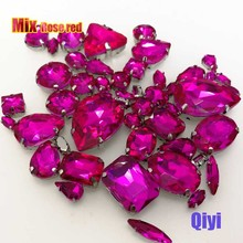 Sell at a loss! 50pcs/bag high quality mixed shape rose red glass sew on claw rhinestones,diy clothing accessories SWM11