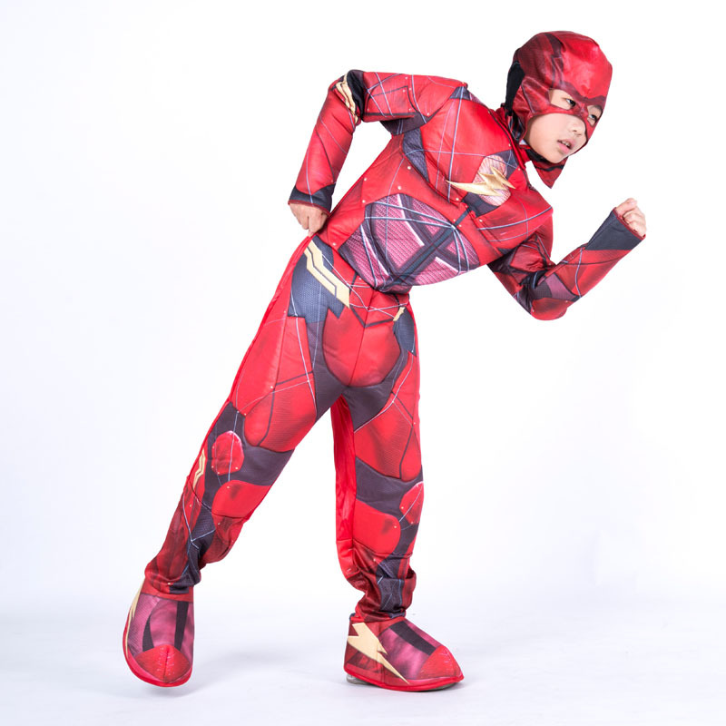 The Flash Muscle Superhero Cosplay Costume for Kids Fancy Dress Fantasia Halloween Costume for Boys Muscle Clothing