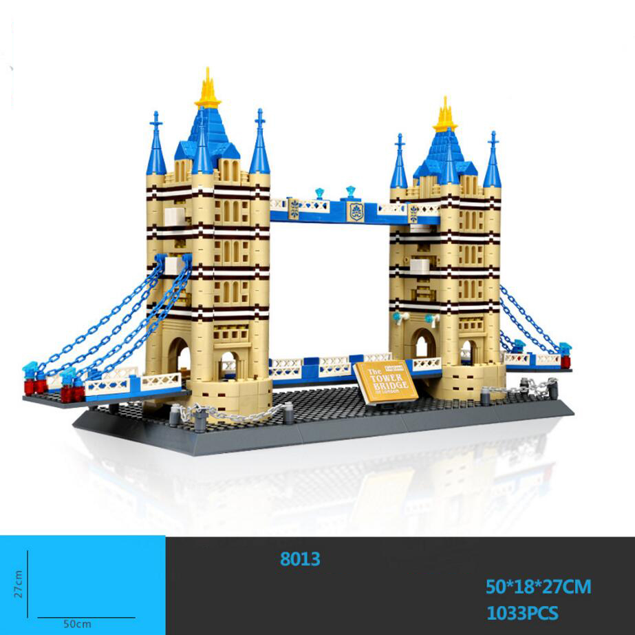 Hot world famous Architecture UK Tower Bridge London England Britain building block model bricks educational toys collection loz mini diamond building block world famous architecture nanoblock easter island moai portrait stone model educational toys