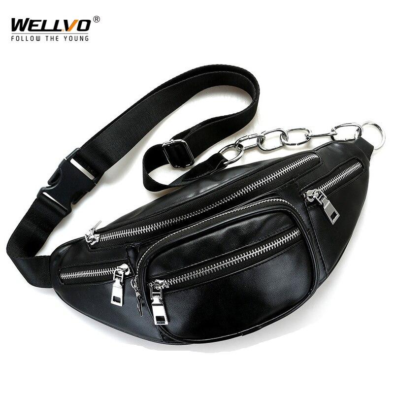Men's Multifunctional PU Leather Waist Packs Women Portable Chest Bags Mini Shoulder Bag Phone Purse Chain Strap Pack XA128WC