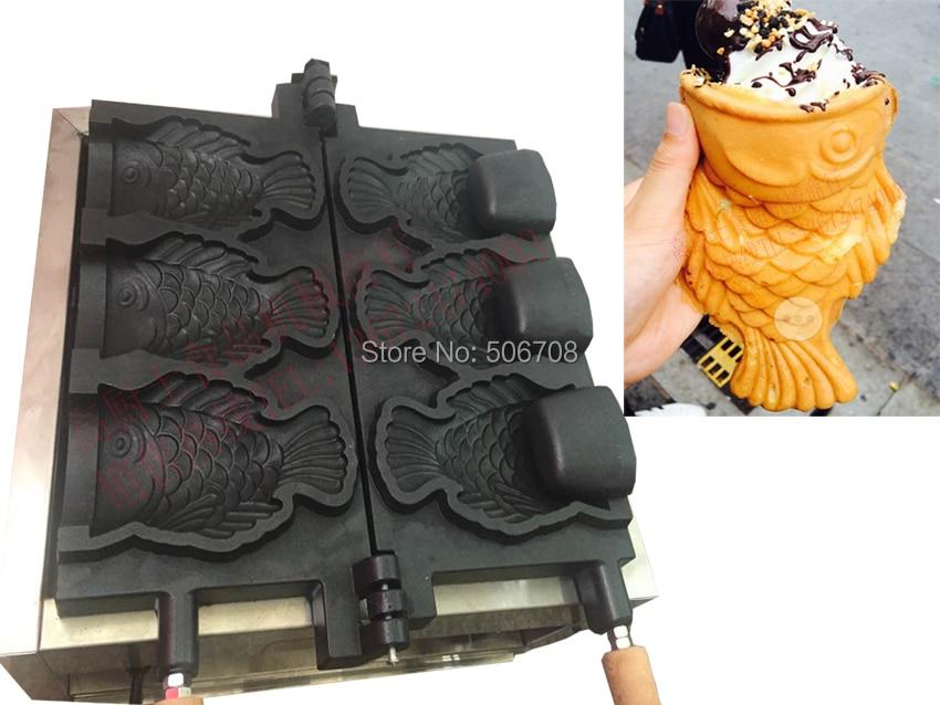 110v/220V 3 pcs big fish Ice Cream Taiyaki maker machine with open mouth
