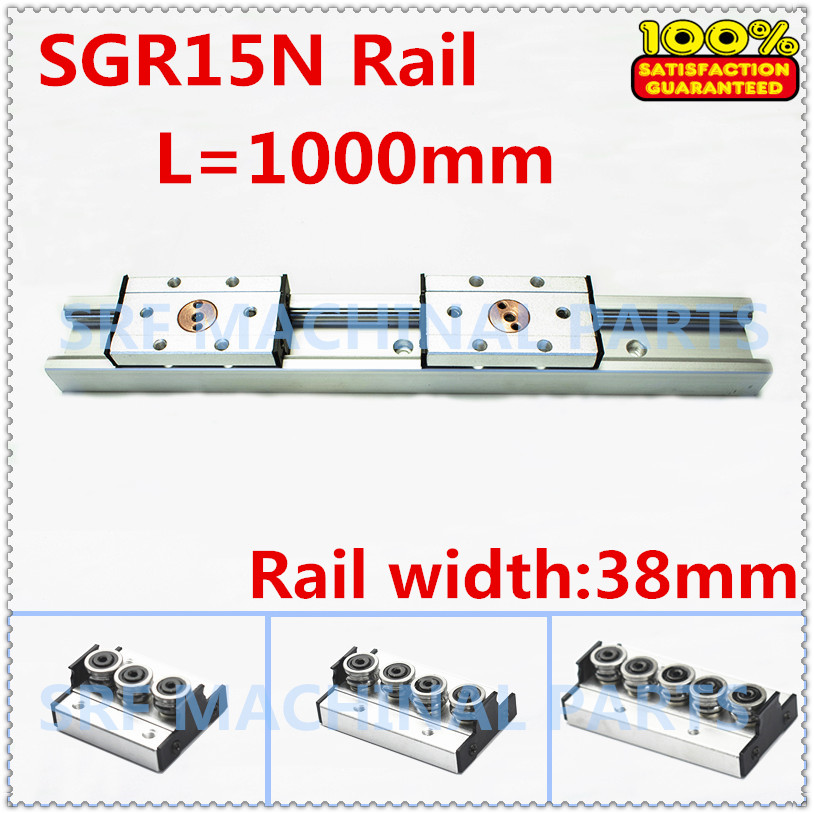 1pcs Silver aluminum Double axis roller linear guide SGR15N L=1000mm +1pcs SGB15N block linear Motion slide rail for CNC part trh45 l 1000mm linear slide rail cnc linear guide rail linear slide track 45mm