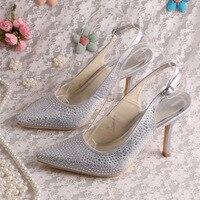 (20 Renk) Sihirli Gelin Kristal Seksi Yüksek Topuk Elbise Ayakkabı Gelin Düğün Pompalar Sivri Toe Dropshipping