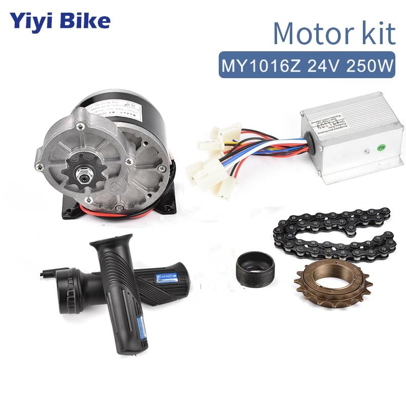 Kit de Bicicleta dc para Diy Kit de Conversão com Corrente do Controlador do Acelerador Elétrica Escovado Motor E-scooter Bicicleta 24v 250w