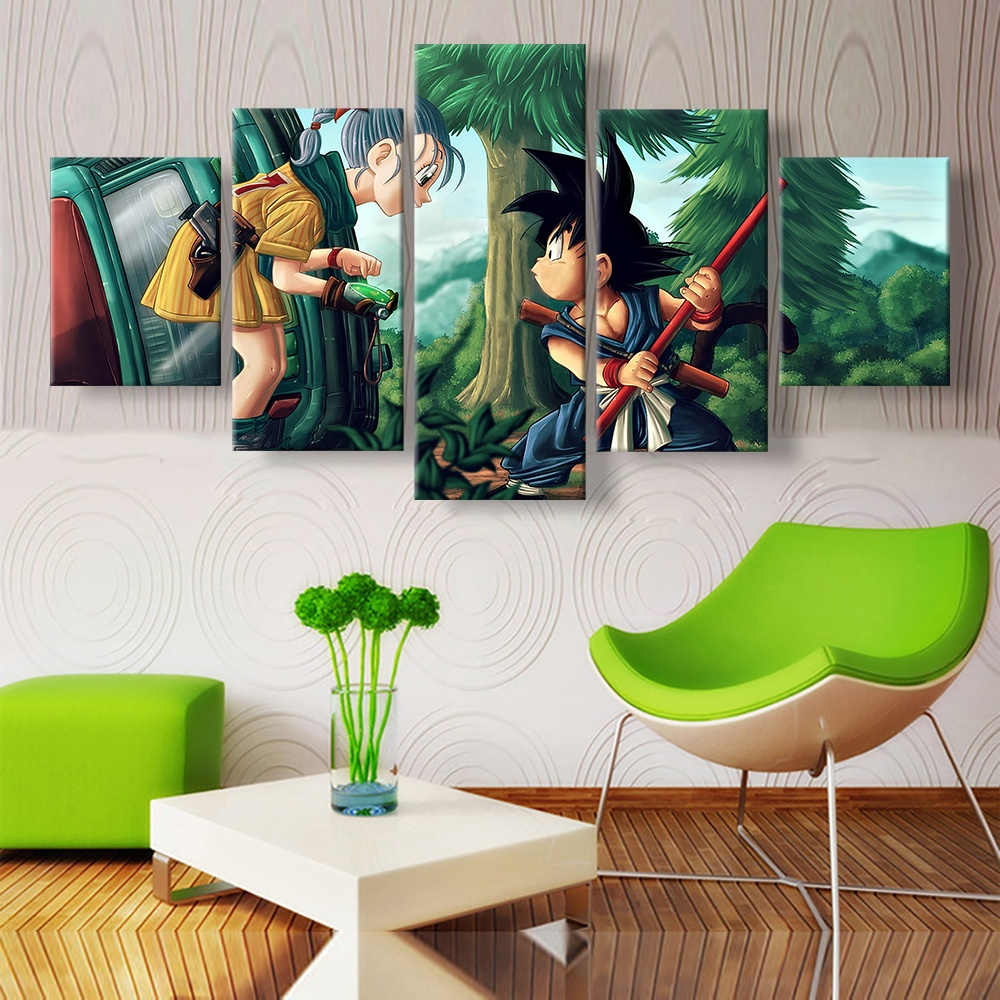 5 Piece HD Wall Art Picture Dragon Ball Z Bulma and Goku Oil Painting Poster for Living Room Decor 3