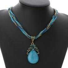 Women's Braided Necklace with Stone Pendant
