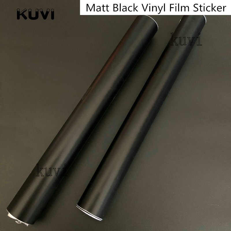 152CMX30CM Matt Matte Black Vinyl Car Wrap Car Motorcycle Scooter DIY Styling Adhesive Film Sheet With Air Bubble Stickers