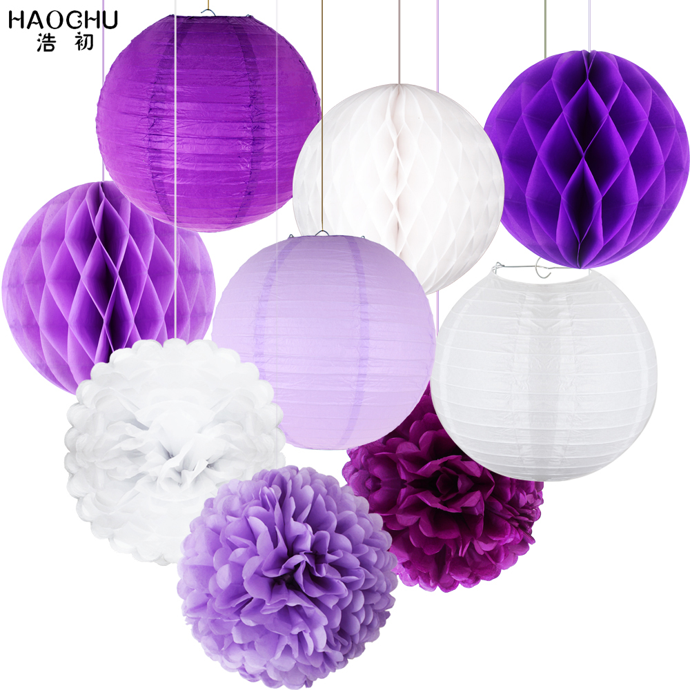 9pcs Mixed Paper Lanterns Sets Decorative Paper Pompoms Flower Hanging Honeycomb Balls Wedding Birthday Babyshower Party Decor-in Lanterns from Home & Garden on Aliexpress.com | Alibaba Group