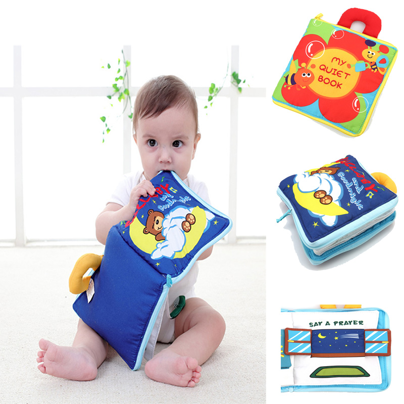 Soft Books Infant Early cognitive Development My Quiet Bookes baby goodnight educational Unfolding Cloth Books Activity Books