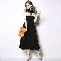 101d5b9ae Fashion Elegant Summer Hollow Out Black Lace Dress Evening Long Maxi Floral  Sexy Dress Ladies Vestidos