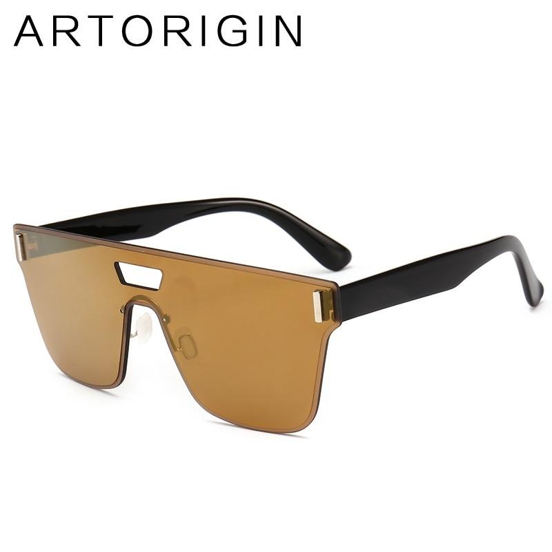 Oversize Mirror Sunglasses Female Siamese Rimless Square Sun Glasses For Women Men Fashion Trend Goggles