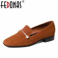 Fedonas新しい女性シープスキン本革の靴女性パンプス低いかかとセクシーな靴平方つま先ビーズエレガントなレトロカジュアルシューズ