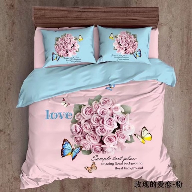 Pink Rose And Butterfly Bedding Set 4pcs Queen Size Duvet Covers Bed Sheets  With Pillowcase 100