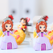 1pc fashion Cartoon Anime Fairy Tale Snow White Mermaid Princess bell Keychain Girl Child Toy Doll Key Ring Car Bag KeyChains(China)