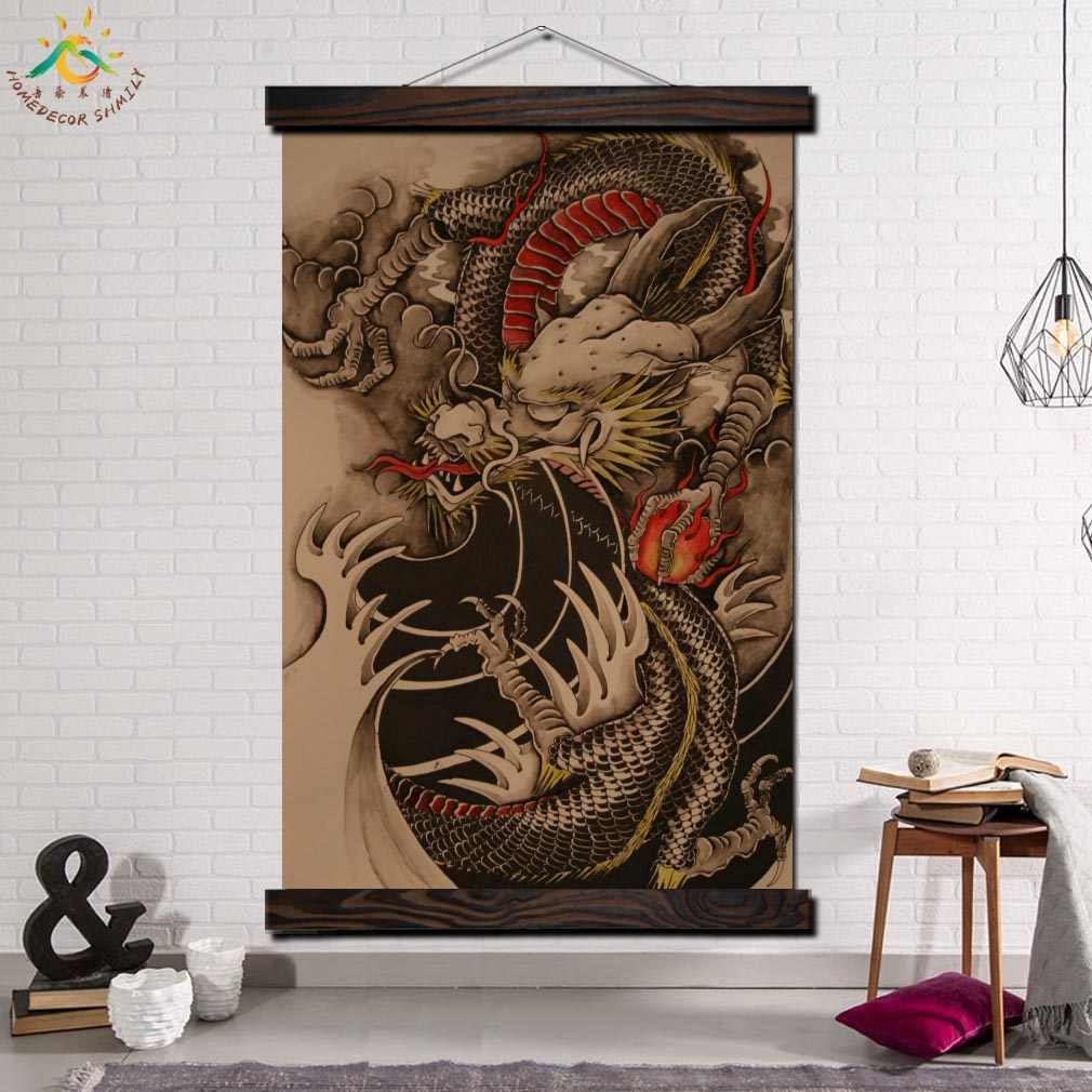 Flames Chinese Dragon Tattoo Modern Wall Art Print Pop Picture And Poster Frame Hanging Scroll
