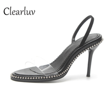 Brand designer ladies hot black transparent glass PVC open toe high heels with stiletto sexy sandals size 35-39C0862