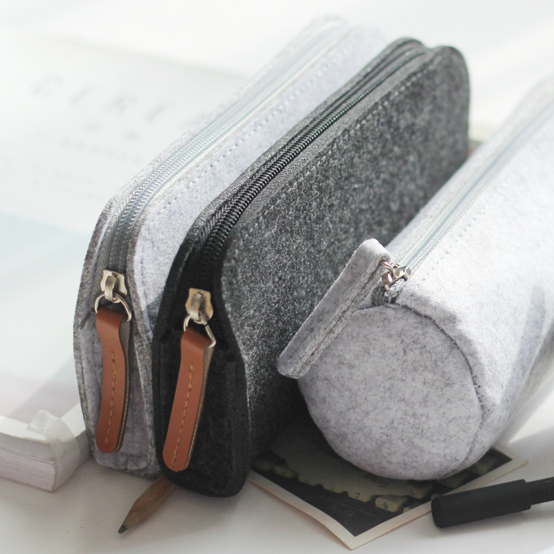 Simple Large Capacity Felt Pencil Case Pencil Bag School Supplies Kalem Kutusu Stationery Gift Estuches Penalty 3001