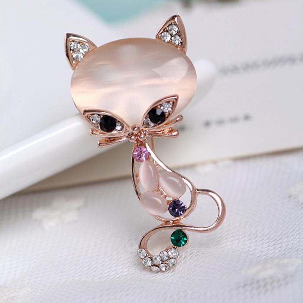 New Fashion Hot Sale Gold Filled Multicolor Opal Stone Fox Brooches Womens Fashion Cute Animal Pin Brooch Jewelry