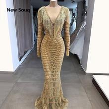 Vestido de noche de sirena ilusión, diseño único, Sexy, con borlas, lentejuelas, manga larga, Oriente Medio, Dubái, árabe, 2019