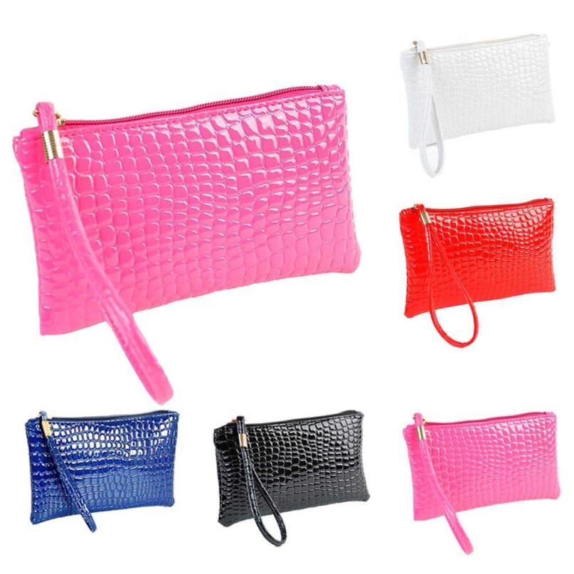 Кошелек для монет, Женский кошелек, пять цветов, Крокодиловая Кожа, клатч, сумка, кошелек для монет, короткие модные стильные сумки для женщин - Цвет: Розовый