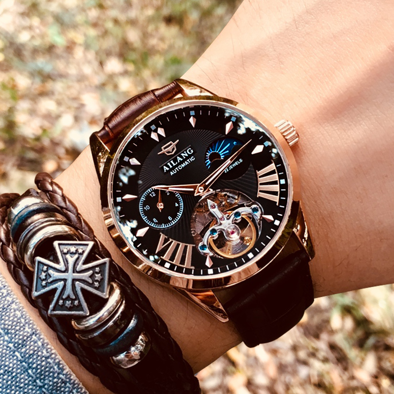 2018 Luxury Skeleton Tourbillon Mechanical Watch Men Automatic Classic Rose Gold Leather Mechanical Wrist Watches Reloj Hombre-in Mechanical Watches from Watches    1
