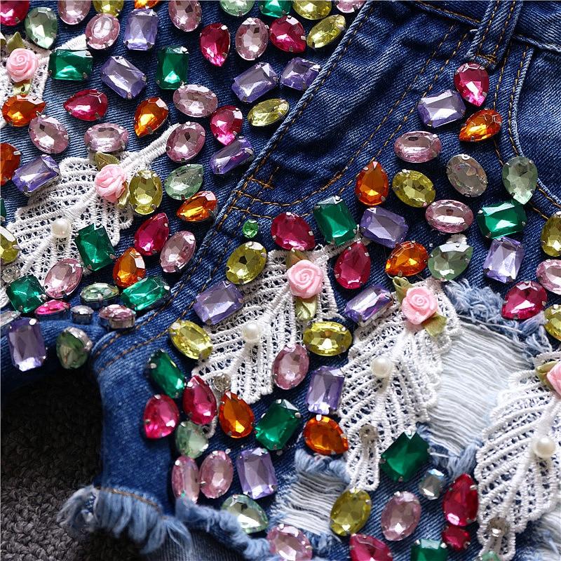 Verano L Llegadas M Diamantes Xl S Mujeres Nuevas Azul Corto De Algodón Denim Moda Encaje 2018 S67fpq
