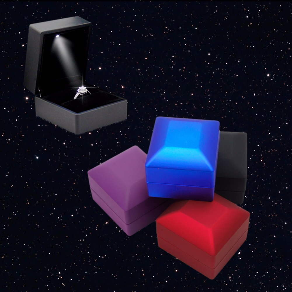 LED Lighted Engagement Ring Box Earring Ring Gift Box Wedding Engagement Ring Jewelry Display Jewelry Packaging & Display