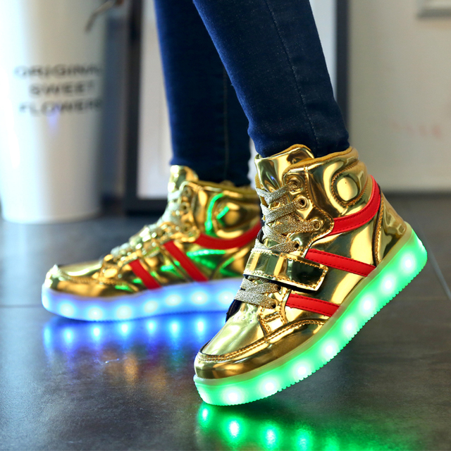 Quality 7 Colors Boys Girls LED Shoes 2017 Autumn Spring High Top Growing Shoes For Kids Luminous Children Shoes With Lights