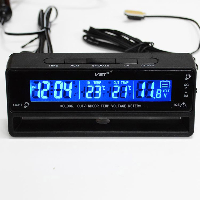 3 в 1 Авто часы термометр Вольтметр Автоаксессуары термометр Напряжение Температура Мониторы часов в автомобиль часы