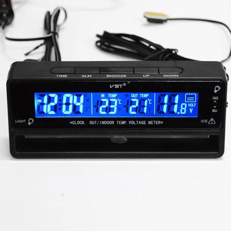 3 en 1 Auto Voiture Horloge Thermomètre voltmètre auto accessoires De Voiture Thermomètre Tension Température Moniteur heures dans la voiture montre